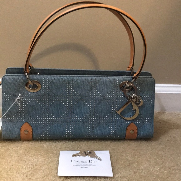 Dior Handbags - New Christian Dior Cannage Studded Denim Handbag